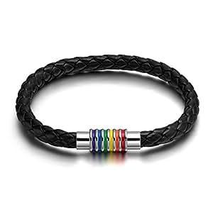 Gudeke Damen Herren Edelstahl gesponnenes Armband PU Homosexuell Pride Regenbogen Armband
