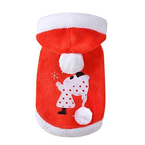 Weihnachten Haustier Kleidung, Hmeng Hoodie Sweatshirt Niedlichen Pullover Zeichentrickfigur Haustier Hund Katze Kapuzenpullover Welpe Warm Karosserien Kapuzenpulli für Winter (XXL, Rot)