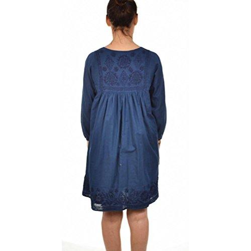 Zen*Ethic - Robe Bohème Double Voile - Voile de coton Indigo