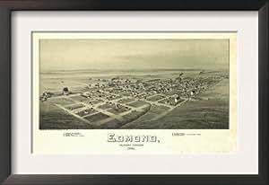 Edmond-carte, de l'Oklahoma-Panoramique encadrée Art Poster Print 19 x 13 cm
