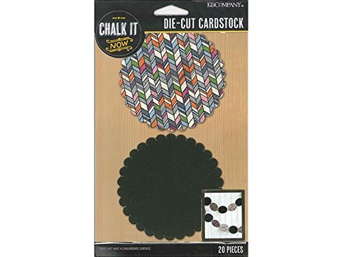 Cardstock Scalloped Circle (K&Company Chalkboard and Printed Chalk It Now Cardstock Die-Cut, 3-Inch, Scalloped Circles, 20-Pack by K&Company)