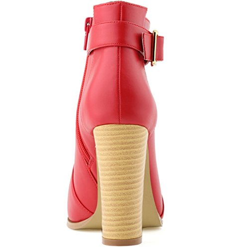 Oasap Women Fashion Solid Chunky High Heel Ankle Bootie Fuchsia
