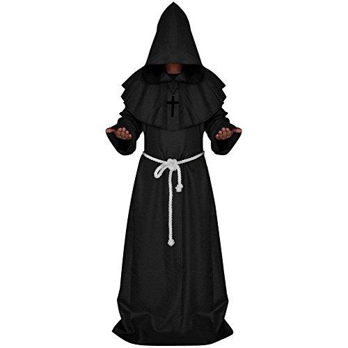 Mönch Hochwertige Robe (Mönchskostüm Herrenkostüm Mönch Priester Mönchskutt, Mittelalterliches Faschingskostüm 5 Farben)