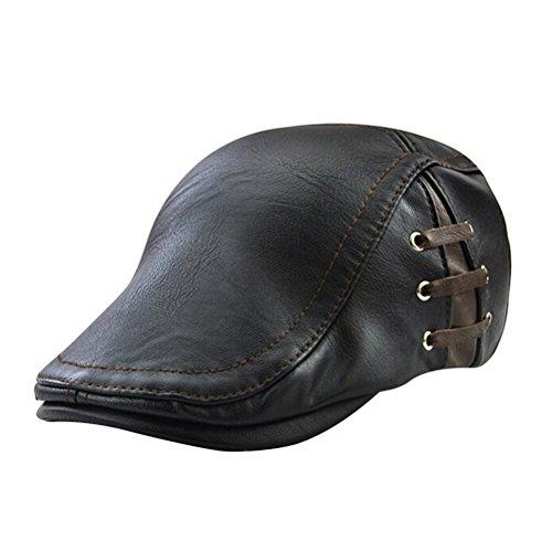 Tinksky Herren flache Kappe, PU-Leder Zeitungsjunge Cap Flat Golf Driving Jagd Hut (schwarz)