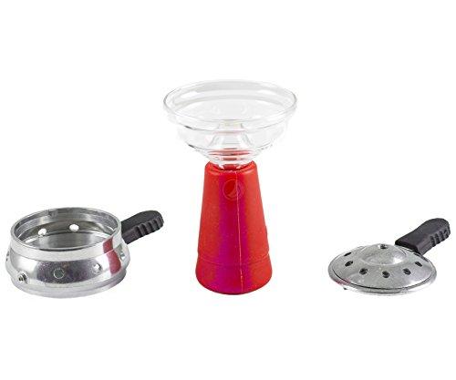 Amy GlasSi Set mit Heatmanagement rot | Shisha Glaskopf mit Silikon und SmokeBox Set