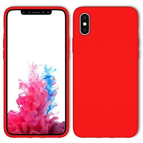 Aucaeo cover iphone x, reg; originale 360 gradi silicone [ custodia + e pellicola vetro temperato ] antiurto liquido ultrasottile protettiva morbide ultra sottile armor per apple iphone x, rossa