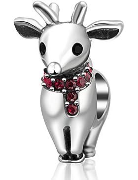 Weihnachten Charm-Perle 925 Sterling-Silber mit weihnachtlichen Motiven (Weihnachtsmann, Rentier, Weihnachtsstrumpf...