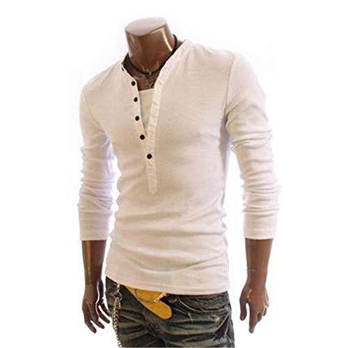 Herren Polo Shirt Tasten V-Ausschnitt Kontrastfarbe Nähte Pullover Langarm T-Shirt Tops Erwachsene Baselayer Jersey (Farbe : Weiß, Größe : XL)