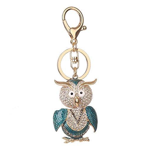 Preisvergleich Produktbild Kristallrhinestone-Schlüsselring, Chickwin Art und Weise nette Eule eschlüsselring-Handtaschen Keychain Geschenk-Schlüsselketten (Blau)