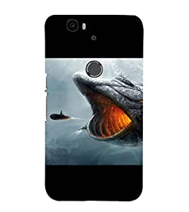PrintVisa Fish With Opened Mouth 3D Hard Polycarbonate Designer Back Case Cover for Huawei Nexus 6P :: Huawei Google Nexus 6P