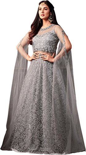 Stylish Fashion Indian Woman Clothes Wedding Wear Party Grey Net With Embroidery Work Stone Anarkali Suit FC 5746