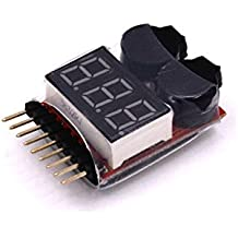 LHI s 2 in 1 RC 1-8s Lipo Li-ion LiMn Li-Fe Battery Checker with Low Voltage Buzzer Alarm and LED Indicator (1 Pcs)