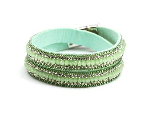 BC1591F-Cinturino a doppio giro in feltro, perle brillanti, con Strass, colore: verde acqua e canali, modalità fantasia