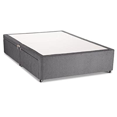 Charcoal Chenille Divan Base - Divan Bed Base - Caster Wheels - 4FT6 Double - No Drawers