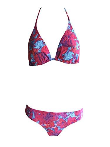 Solar Tan Thru Neckholder-Bikini rot/blau, Gr. 38 B-Cup