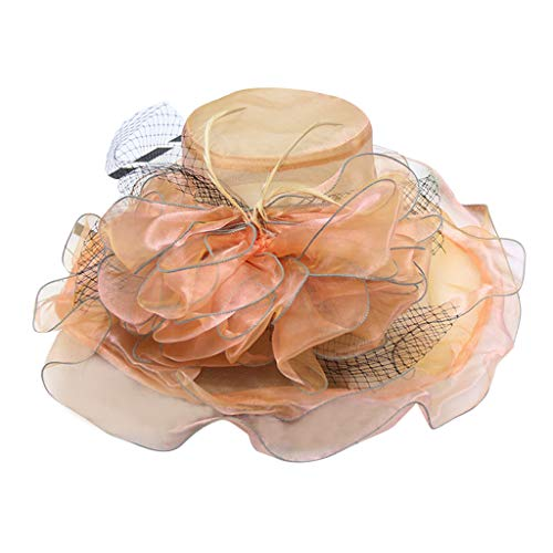 HHyyq Organza Church Derby of Women Cap Kentucky Tea Party Wedding Frauenrennen-Hut-Organza-Hut Mit Rüschenfedern Die Partei-Hut Sind Brautparty Kirche Breiter Krempe Hochzeit Hut(Orange)