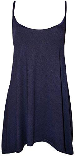 WearAll - Grande taille swing débardeur top à lanières - Hauts - Femmes - Tailles 44 à 50 Bleu Marine