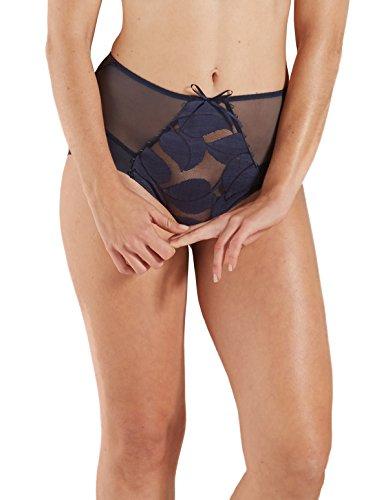 Barbara 231612-274 Women's Effeuillage Navy Blue Motif Lace Full Panty Highwaist Brief 34