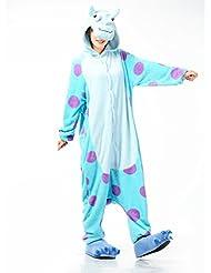 AUTEK Pyjama Adulte en animal Halloween Costume Tenue_vache bleu-L