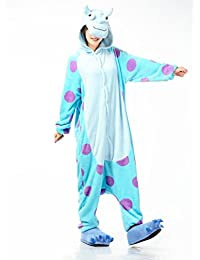 AUTEK Pyjama Adulte en animal Halloween Costume Tenue_vache bleu-L