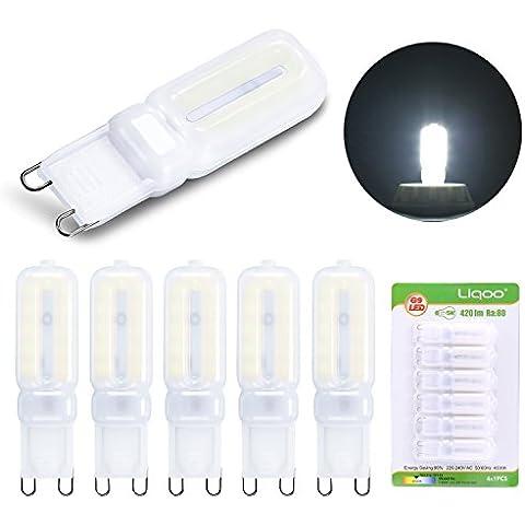 Liqoo® 6x G9 5W LED Bombilla Bajo Consumo Lámpara Ra 80 2835SMDs Blanco Natural Neutral 4500K AC 220-240V Ángulo de visión 360° 420 Lumen Reemplaza