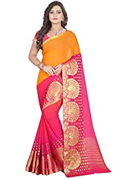 Shagun Trendz Women's Orange Banarasi Silk Saree With Fancy Blouse (Orange And Pink) … (Pink)