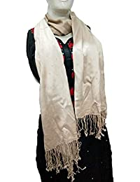 64dd5d6dcaf83 Fashion house Beautiful Women's Soft Poly Cotton Scarf with pearl  work(Cream Color) and