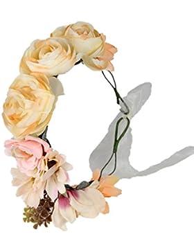 Cereoth Guirnalda de flores Diadema de guirnalda de corona floral rosa para boda
