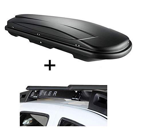 VDP Dachbox VDPJUXT400 400Ltr schwarz abschließbar + Stahl Relingträger Aurilis Original für Dacia Duster mit Reling 5 Türer 2014-2017