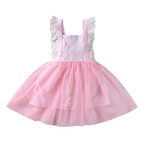 Frühling Sommer Mädchen Ärmelloses Rückenfreies Kleid Für Kinder Prinzessin Kleid Casual Kleinkind Top Pullover Mantel Dicke T-Shirt Outfits Kleider (Rosa, 110) (Kürbis Prinzessin Kostüme)