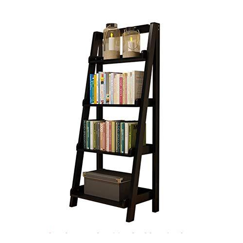 Bücherregale CJC 4 Stufen Leiter Hölzern Leiter Einheit Gestell Anzeige Halter Stand (Farbe : SCHWARZ, größe : 60 * 36 * 140cm) -