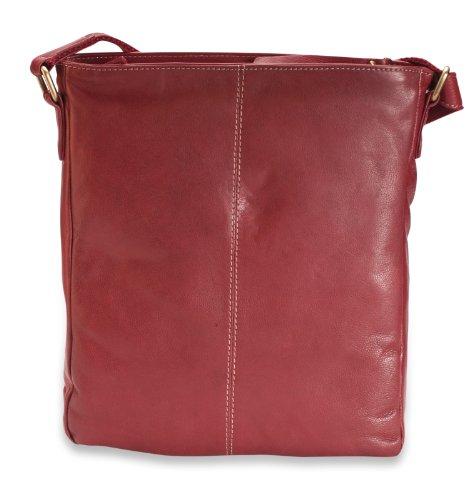 """Brunhide Borsa da donna tracolla, a spalla in vera pelle adatta per i Pad 10"""""""" # 119-300 Rosso"""