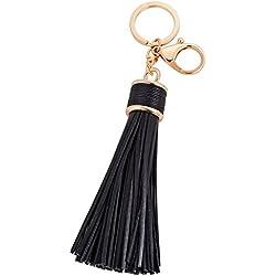 Hrph Sencillas borlas de cuero de la PU llavero Titular del anillo dominante de las mujeres llavero colgante del bolso de la aleación del coche cadena