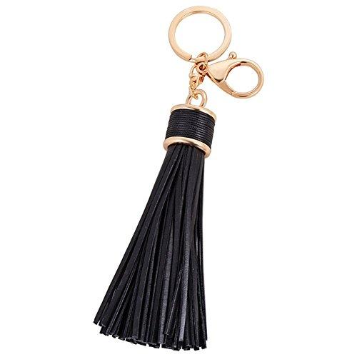 Hrph Einfache PU-Leder Quasten Keychain Frauen Keychain Beutel-Anhänger-Legierung Auto Schlüsselanhänger Ring Halter Retro-Schmuck (Leder-quaste)