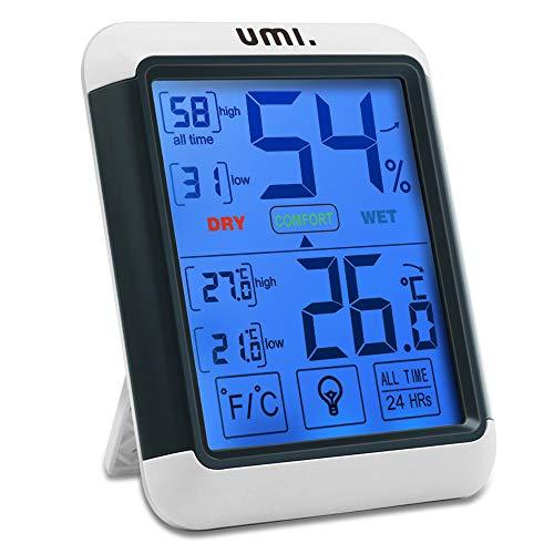 Umi. Essentials Termometro Igrometro Digitale Professionale Termometro Ambiente Interno Misuratore Temperatura e Umidità con Memoria Massima Minima e Retroilluminazione, Monitor di Comfort Casa