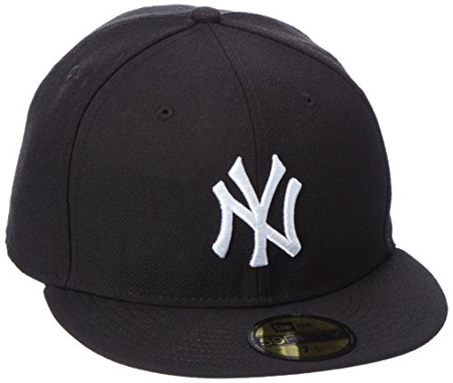 New Era Herren Baseball Cap Mütze MLB Basic NY Yankees 59 Fifty Fitted, Black/White, 7 3/8, 10003436 (Feld 59fifty Hat)