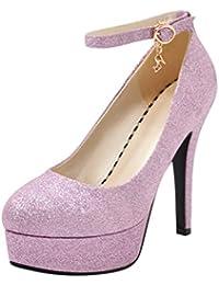 Coolulu Mujer Zapatos de Tacón Alto Plataforma Correa de Tobollo con Hebilla  Cerrado Brillante Fiesta Boda 12f9eaef2377