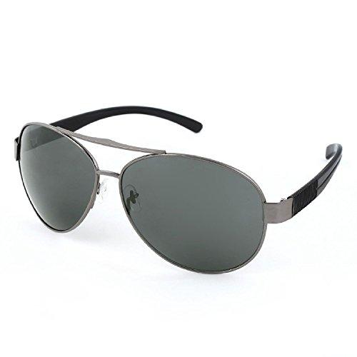 DealMux Männer Kunststoff schwarz Arme Dark Gray Full Metal Rand Rahmen Teardrop Objektiv Sonnenbrillen