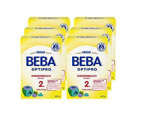 Nestlé BEBA Optipro Kindermilch, ab dem 2. Geburtstag, Pulver, 600 g Faltschachtel (2 x 300 g Beutel), 6er Pack (6 x 600 g) (Kleinkind-pulver)