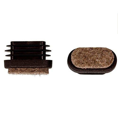 Filzgleiter Dekaform Fi-101-Fl-Ov Bodenschoner Filz Stopfen Möbelgleiter für Linoleum Fliesen Marmor Parkett Dielen Holz Fußboden Stuhlgleiter bei Flach Oval Rohr 30x15 schwarz -