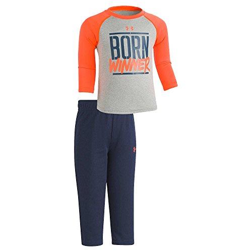 Under Armour Infant Boys' 2-Piece Long-Sleeve T-Shirt & Pants Set (24 Months, True Grey Heather (27D72063-02)/Max Orange/Navy) (24 Monat Under Armour)