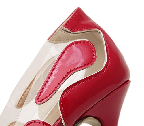 Da donna-Tacchi-Formale Serata e festa-Comoda Club Shoes-A stiletto-Di pelle-Rosso Argento Dorato Red