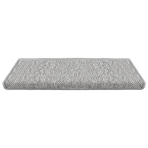 casa pura Stufenmatten Sabang | Sisaloptik | Qualitätsprodukt aus Deutschland | GUT Siegel | kombinierbar mit Läufer | Form und Anzahl wählbar (Silber rechteckig, 15er Set) -