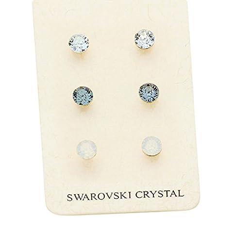 Rosemarie Collections Femme 3paires mixtes Cristal Swarovski Pretty Ensemble de boucles d'oreille à tige