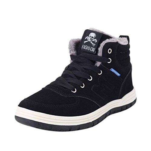 Zapatos de hombre Botas de invierno para hombres Moda Felpa Deporte Al aire libre Trabajo Calentar Casual Tobillo Nieve Botas LMMVP (Negro, 43)