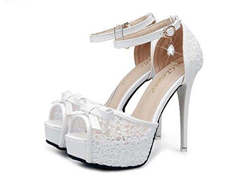 Pompa scarpin cinturino alla caviglia bowknot piattaforma spessa alto tacco sandali da donna dolce peep toe cavo pizzo fibbia della cintura sandali scarpe da sera scarpe da sposa scarpe da festa dimen , white , 39