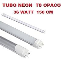 Easyelettronica TUBO NEON LED 150 cm LUMINOSISSIMO DA 36 WATT OPACO COLORAZIONE 6000-6500K LUCE FREDDA CON ATTACCO T8 120 LED SMD ALTA LUMINOSITA' LUNGA DURATA FUNZIONAMENTO A 220V 58w a gas OTTIMA LUMINOSITà 1,50 METRI