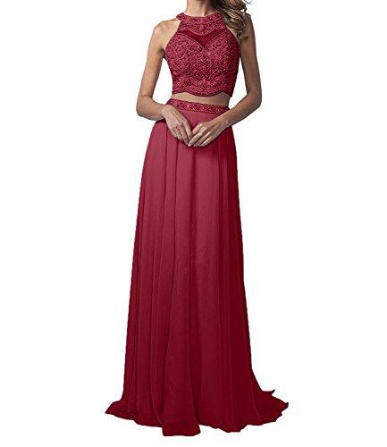 La_Marie Braut Langes Zwei-teilig Perlen Abendkleider Promkleider Partykleider Chiffon A-Linie Rock-36 Weinrot