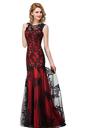 Damen Lang Ärmellos Tüll Hochzeitskleid Brautjungfernkleid Meerjungfrau Ballkleid Rot 42