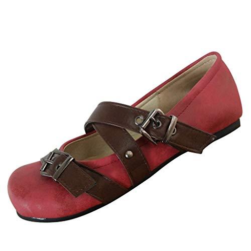 LILIHOT Frauen Sandalen Vintage Flat Bottom Strand Schuhe Gürtelschnalle Schuhe Knöchel Sandalen Damen Pumps Knöchel-Riemchen Blockabsatz Sandalen Casual Elegant Schuhe